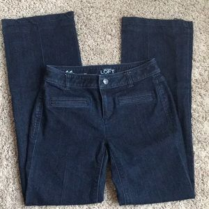 [Ann Taylor Loft] 00P Dark Wash Denim Trousers